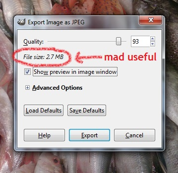 the GIMP quality slider and file size
