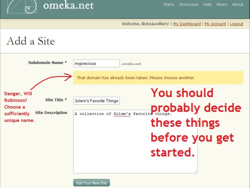 Omeka Add a Site form